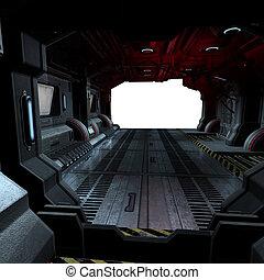 image, composer, intérieur, ou, scifi, fond, vaisseau spatial, futuriste