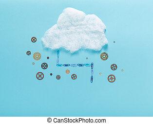 image, concept, nuage, calculer