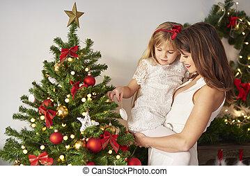 image, décoré, arbre, noël, famille
