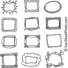 image, ensemble, cadre, main, vecteur, dessiné