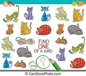 image, espèce, trouver, une, jeu, chats, dessin animé