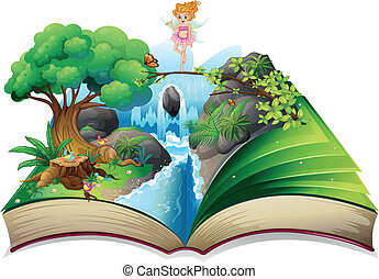 image, fée, livre, terre, ouvert