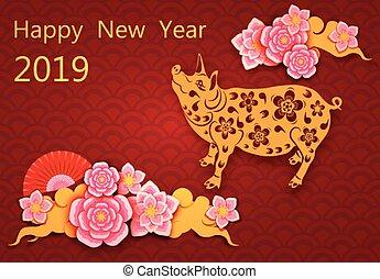 image, félicitation, chinois, cochon, pigs., fan., fleurs, year., illustration, nouveau, zodiaque, inscription., shadow., sakura