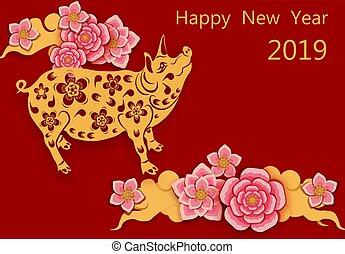 image, félicitation, chinois, cochon, pigs., year., illustration, nouveau, zodiaque, fleurs, inscription., sakura