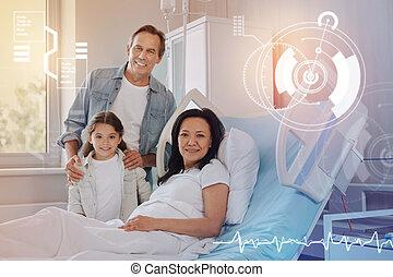 image, famille, hôpital, moderne, sourire, amical, gentil
