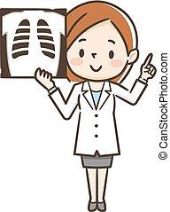 image, femme, rayon x, docteur
