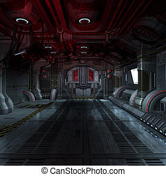 image, futuriste, ou, composer, intérieur, fond, rendre, scifi, 3d, vaisseau spatial