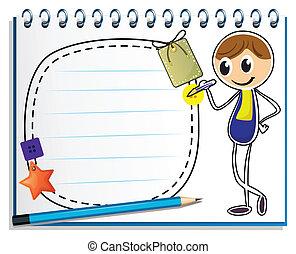 image, garçon, écriture, cahier