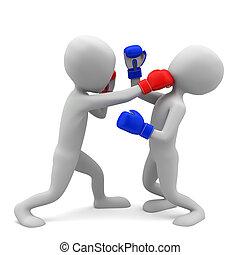 image., gens, boxing., fond, petit, blanc, 3d