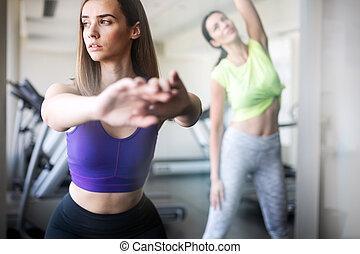 image, gymnase, femmes, deux, fitness