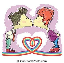 image, il, gay, décor, isolé, couples, vecteur, kissing., dessins animés