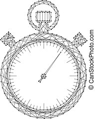 image, illustration., dots., lignes, polygonal, vecteur, noir, schématique, chronomètre, futuriste