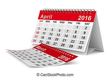 image, isolé, calendar., april., année, 2016, 3d