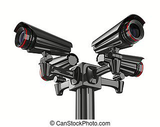 image, isolé, quatre, arrière-plan., appareil photo, sécurité, blanc, 3d