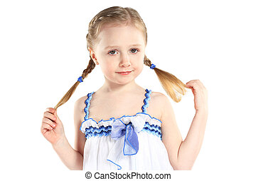 image, jeune, isolé, girl, poses, blanc