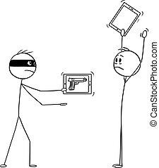 image, mains, vecteur, ou, tablette, virtuel, haut, dessin animé, agression, fusil, téléphone, voleur, homme