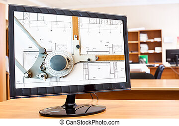 image, modèles, moniteur, écran, ordinateur bureau, planche, dessin