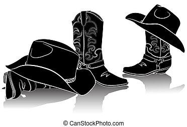 image, noir, hats., backg, graphique, cowboy charge, occidental, blanc