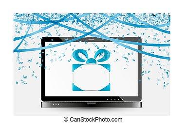 image, ordinateur portable, célébration