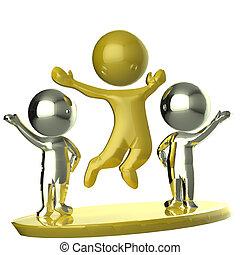 image, partenaires, business, heureux, équipe, doré, argent, 3d