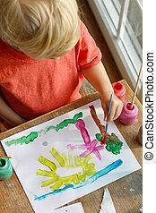 image, peinture, jeune enfant