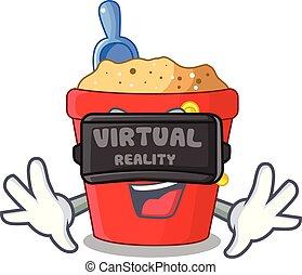 image, pelle, seau, réalité virtuelle, plage, dessin animé