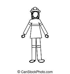 image, pompier, dessin animé, icône