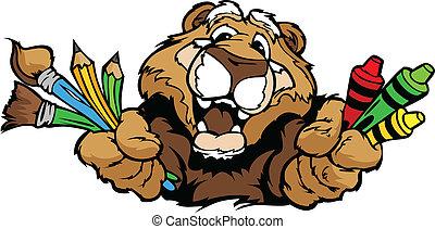 image, puma, vecteur, mascotte, dessin animé, préscolaire, heureux