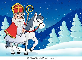 image, sinterklaas, cheval, 6, thème