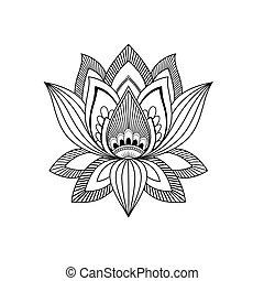 image, style, oriental, indien ethnique, vecteur, fleur, lotus