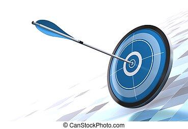 image, sur, bleu, fond, moderne, cible, fond, placé, côté, flèche droite