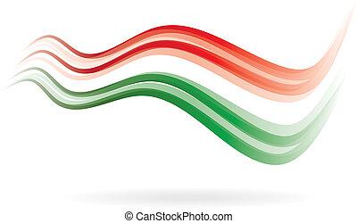 image, swoosh, drapeau vert, lire, blanc