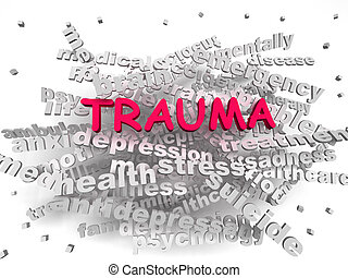 image, trauma, mot, nuage, concept, 3d