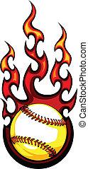 image, vecteur, base-ball, flammes