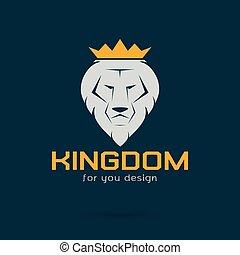 image, vecteur, blanc, lion, couronné