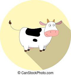image, vecteur, dessin animé, vache