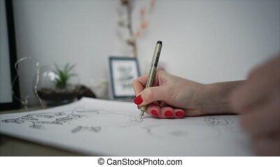 image, vie, femme, artiste, jeune, encore, peinture