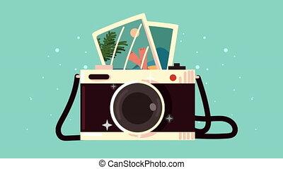 images, animation, voyage, appareil photo, photographique, bon