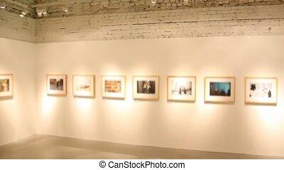 images, art, exposition, salle, brouillé