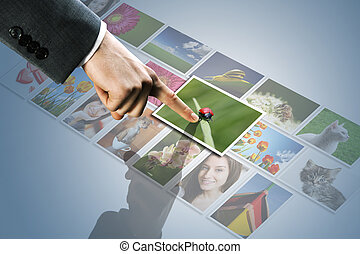 images, atteindre, touchscreen, interface:, homme, écran, main