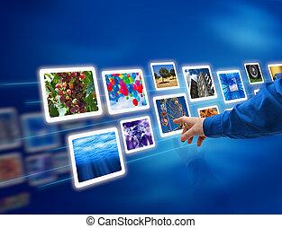images, couler, sélectionner, main