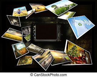 images, ruisseler, autour de, appareil photo