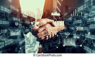 imaginatif, données, business, poignée main, graphique, visuel, informatique, investissement