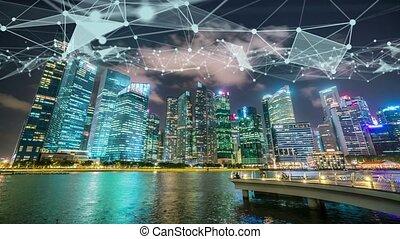 imaginatif, globalisation, résumé, graphique, visuel, réseau, intelligent, projection, numérique, connexion, ville