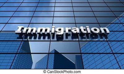 """""""immigration, bâtiment, time-lapse."""", ciel bleu, nuages"""