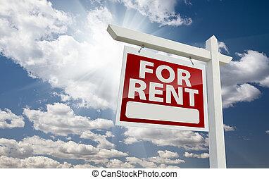 immobiliers, ciel, sur, ensoleillé, signe, revêtement, loyer, gauche