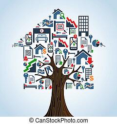 immobiliers, icônes, concept., maison arbre, loyer