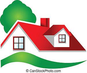 immobiliers, logo, maison