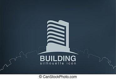 immobiliers, logotype., moderne, gratte-ciel, logo, bâtiment.