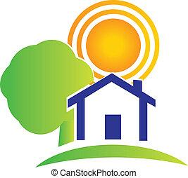 immobiliers, maison, arbre, soleil, logo